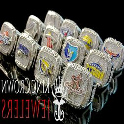 Big Bold Mens Ring 10K White Gold Over Silver Custom Piece D