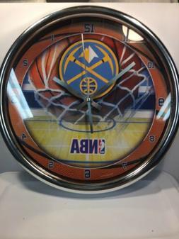 Denver Nuggets 12'' Round Chrome Clock New In Box
