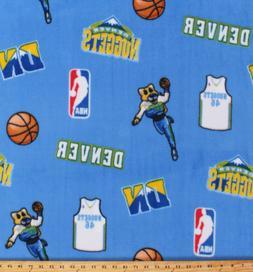 Denver Nuggets Blue NBA Basketball Team Fleece Fabric Print