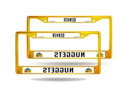 Denver Nuggets Gold Yellow Painted Chrome Metal  License Pla