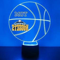 Denver Nuggets Night Light, Personalized FREE, Basketball LE