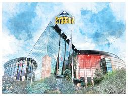 Denver Nuggets Poster Architectural Design Art Print Man Cav