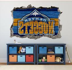 Denver Nuggets Wall Art Decal 3D Smashed Basketball NBA Wall