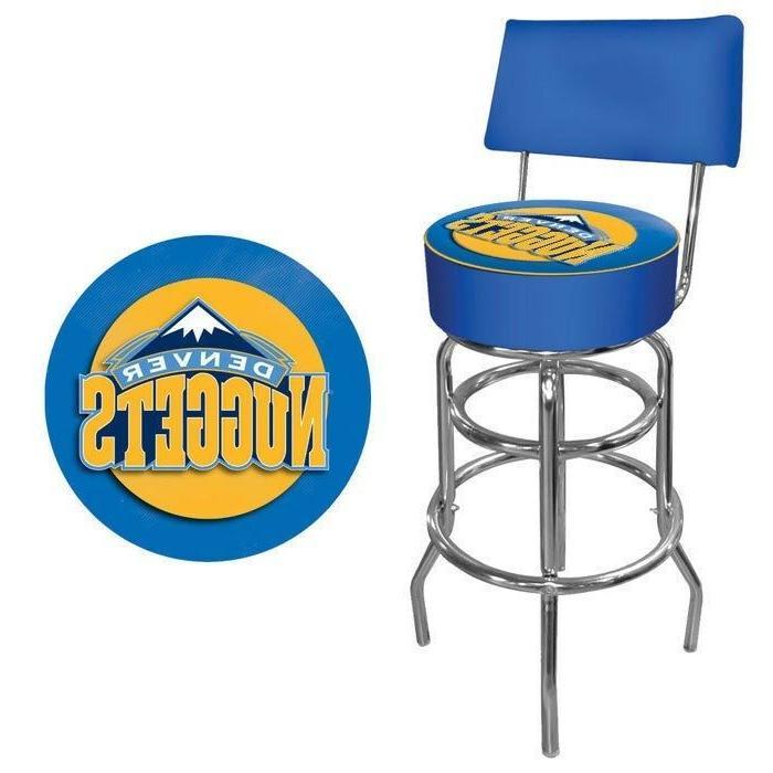 denver nuggets nba padded swivel bar stool