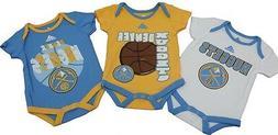 NBA Denver Nuggets Genuine Adidas Infant 3 Piece Creeper Bod