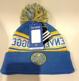 Adidas NBA Sky Blue Poof Ball Denver Nuggets Boys Knit Hat S