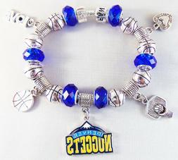 Official NBA DENVER NUGGETS Basketball Charm Bracelet Silver